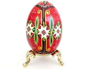 Pysanka, batik egg on chicken egg shell, Ukrainian Easter egg, hand painted egg
