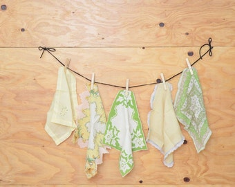 Vintage Handkerchiefs; Yellow & Green Lot Of 5 Lovely Hand-Selected Pieces