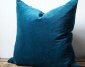 Aqua velvet pillow cover