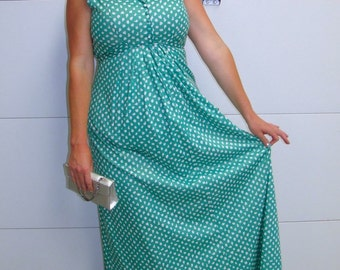 Vintage Green and White Printed Spring/Summer Maxi Dress