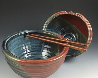 Rice Bowl Set - Pair of 2 Handmade Bowls - Chopstick, Noodle Bowls - Pottery Bowls with Choice of Chopsticks