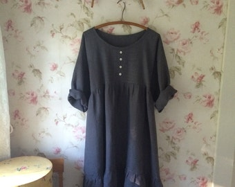 Washable linen Dress Grey Linen Washed Linen Long Prairie Dress With Bodice Detail Lagenlook