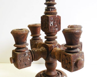 Vintage wood architectural Candlestick holder wood salvage Carved flowers tramp art 4 arm 5 candlestick holders