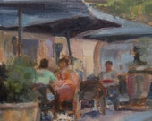 Cafe in Paris, Cafe with Dog, Paris, France, Outdoor Cafe, European Painting, French Cafe, Outdoor Dining, Figurative art, Original oil