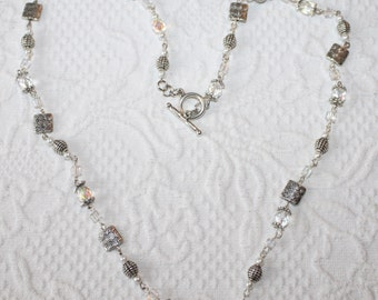 Long Necklace Icy Clear and Silver tone Rosary Style by My Cozy Cottage Designs Beachy