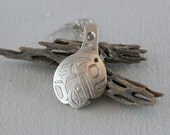 Vintage Native American Navajo Artist Dean Brown Sterling Silver Etched Symbol Pendant Necklace 18 inch Sterling Silver Chain  .....5108