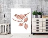 bird print, bird silhouette poster, pink bird print,  woodland nursery decor, whimsical animal art, bird home decor, hipster print, minimal