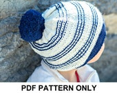 Slouchy Hat Knitting Pattern - Knitted Hat Pattern - Navy and White Knit Hat Pattern - the SYDNEY Hat (Toddler, Child & Adult sizes incl'd)