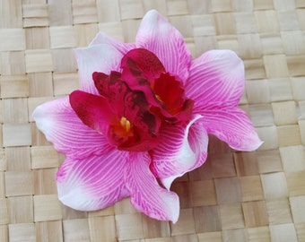 Pin up double hot pink orchid hair flower rockabilly vintage 40s 50s style wedding bride very detailed