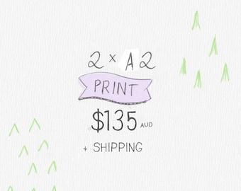 """2 x A2 Art Print, 40x50 cm Art Print, 16x20"""" Art Print, Art Print Children's Art Print"""