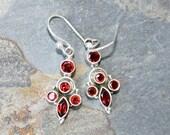 Garnet Earrings, Red Earrings, Gemstone Earrings, Chandelier Earrings, Holiday Earrings, Garnet Jewelry, January Earrings, For Her