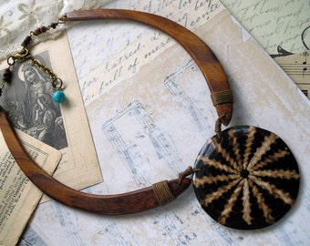 Land & Sea, Tribal Boho Unique Teak Wooden and Sea Shell Choker Necklace by Hollywood Hillbilly