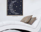 Shoot For The Moon Even If you Miss You'll Land Among The Stars Hand Lettered Sign  Typography Word Art Wall Decor