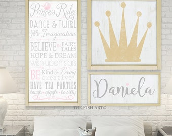 Princess Collection Framed  Wooden  Wall Art - Typography Word Art Signs on Wood