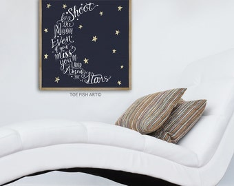 Shoot For The Moon Sign | Even If you Miss You'll Land Among The Stars | Typography Word Art | Wall Decor | Nursery Sign | Wood Framed