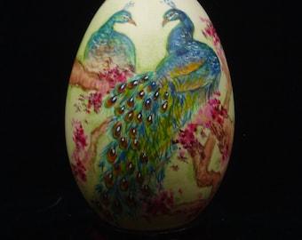 Peacocks/ Cherry Blossoms/ Hand Painted Goose Egg Shell/ Goose Egg Art/ Love