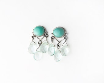 Ocean Breeze Turquoise and Aqumarine Sterling Silver Post Earrings