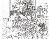 COLORING PAGE Instant Downloadable Print,Flowers and Plants,Mother and Kids watering plants, Adult Coloring,Print of my original pen drawing