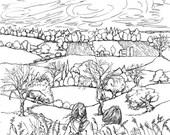 COLORING PAGE,Instant Printable download,adult color art,Country landscape,Children ,Friends,print of my original pen drawing,DIY,line art