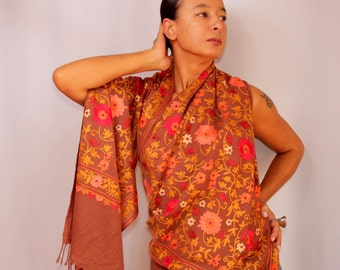Brown Shawl, Pashmina Wrap, Pure Wool Pashmina Scarf, Fall Leaf Scarf, Flower Shawl, Pure Silk Embroidered Shawl, Wool Woven Shawl, Cover Up