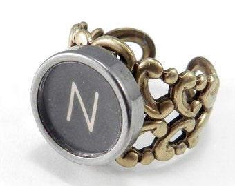 Typewriter Key Ring - Letter N Ring Name Ring - Custom Initial Ring - Steampunk Ring - Brass Adjustable Ring