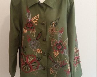 Vintage Alex Kim Long Sleeve Embroidered Jacket, Green, XXL, 2X, #60716
