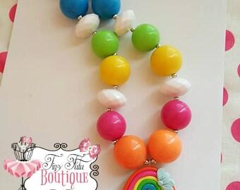 RAINBOW Chunky Necklace- Chunky bubblegum necklace, Girls chunky necklace, Gumball necklace, Bottle Cap necklace