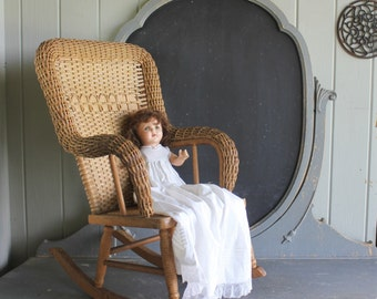 Antique Heywood Wakefield Child's Wicker and Wood Rocker Rocking Chair
