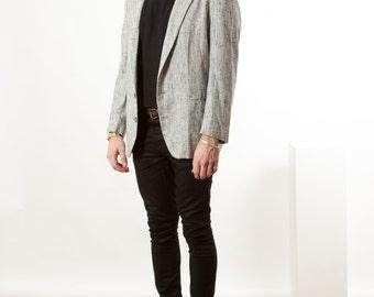 Mens Speckled Blazer / Vintage long Sleeve Vest / Light Beige Small Blazer