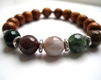Earthy Jasper & Wood Bracelet / Fancy Jasper / Stone Stacking Bracelet / Natural Polished Semi-Precious / Narra Wood