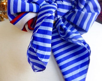 Vintage 1980s Large Square Silk Nautical Scarf/Red White and Blue- Fresh!  #R913c