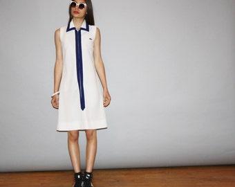 1960s Vintage Designer David Crystal Lacoste Izod White Tennis Shirt Dress - Vintage Lacoste Dress  - Vintage 60s Lacoste  - WD0841