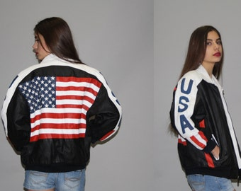 1990s Vintage American Flag Leather Bomber Jacket - 90s USA Jacket - Vintage Flag Jacket  - WO0641