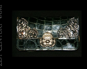 Antique Edwardian Coin Purse by Ludwig Krumm 1903. Art Nouveau. Forest Green Alligator Leather & Hallmarked Silver. Goldpfeil. Montblanc.