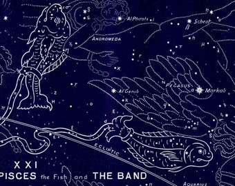 1895 Antique STARS CHART print, Piscis, The fish and the band, Zodical signs Constellations.Astrology,  astronomy lithograph + 100 years old