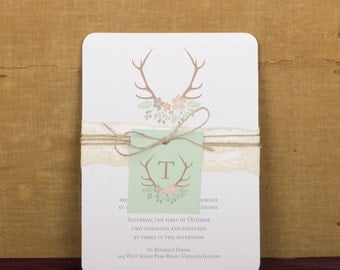 Modern Rustic Antler Wedding Invitation, Sample, Antler and Flowers Wedding Invitations,Antler Monogram Wedding Invitations, B.designs Paper