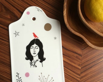 Cheese board (or wall art) with lady Ida, flowers and stars #1672