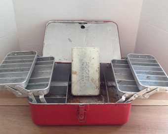 Liberty Fishing Tackle Box Vintage Red Metal with Stacking Fold Out Trays