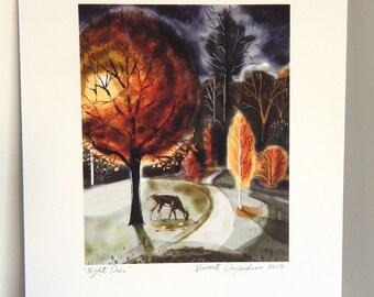 Night Deer Print of Original Illustration of Deer Grazing Under Fall Trees at Night