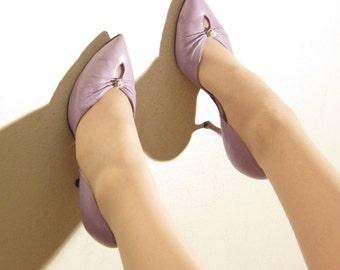 Vintage 1950s High Heel Shoes Purple Leather / 50s Pumps Size 8 Party Shoes