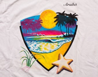 Aruba Beach Sunset T-Shirt, Neon Colors, Tropical Paradise, Vintage 90s