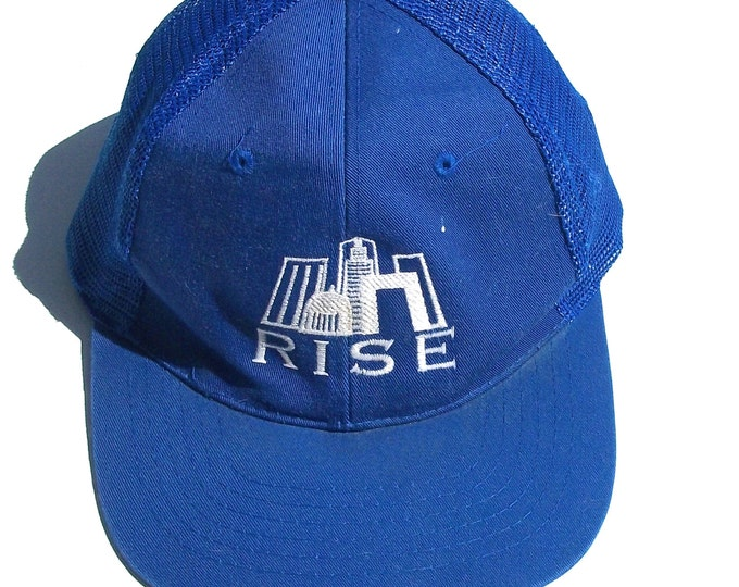 vintage RISE embroidery snapback 80s 1980s unisex mens baseball cap hat mesh blue sports norm core kitsch indie hipster one size men summer