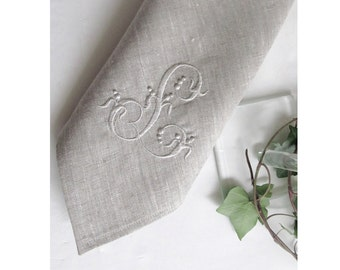 Linen Napkins, 18/22 inch, Monogrammed Natural Gray Large Cloth Dinner Serviette,  Personalized Embroidered Wedding