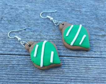 Green Clay Cookie Christmas Ornament Charm Earrings