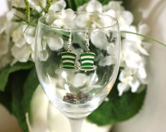 Green and White Striped Dr. Seuss Hat Charm Earrings - Cat in the Hat