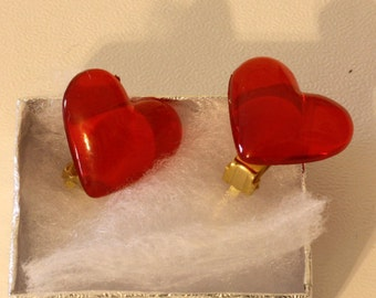 Large Red Heart Clip on Earring - Kids Womens Jewelry - Valentines Day Holiday Jewelry Accessories