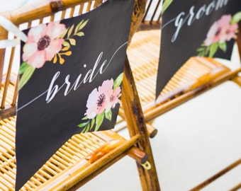 Wedding Chair Signs for Bride and Groom Banners Floral Calligraphy Style Boho Chic Reception Decorations for Wedding Signs (Item - BBG700)