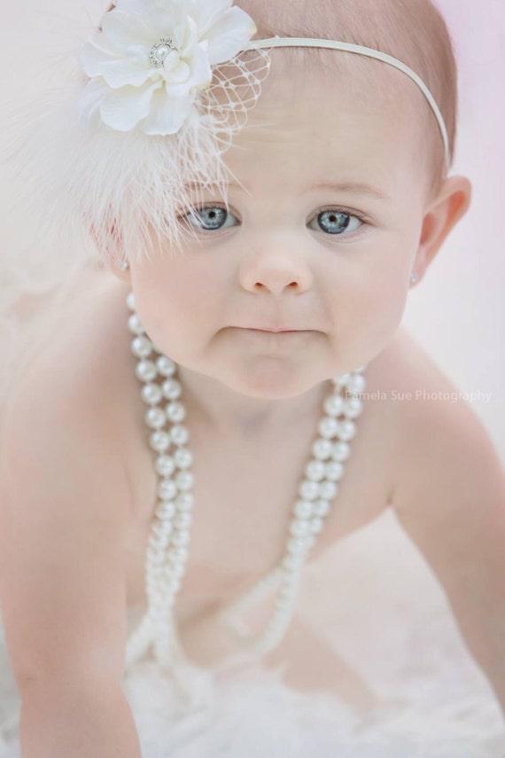 Baby Ivory Flower Headband, Ivory Headband, Christening Headband, Girls Headband, Toddler Headband, Infant Headband, Newborn Photo Prop