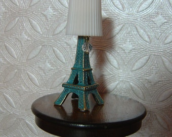 Dollhouse Eiffel Tower table lamp miniature one inch scale 1:12