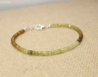 FLASH SALE- Grossular Garnet Bracelet, Grossular Garnet Jewelry, Muti Color, Beaded, Layering, Gemstone Jewelry